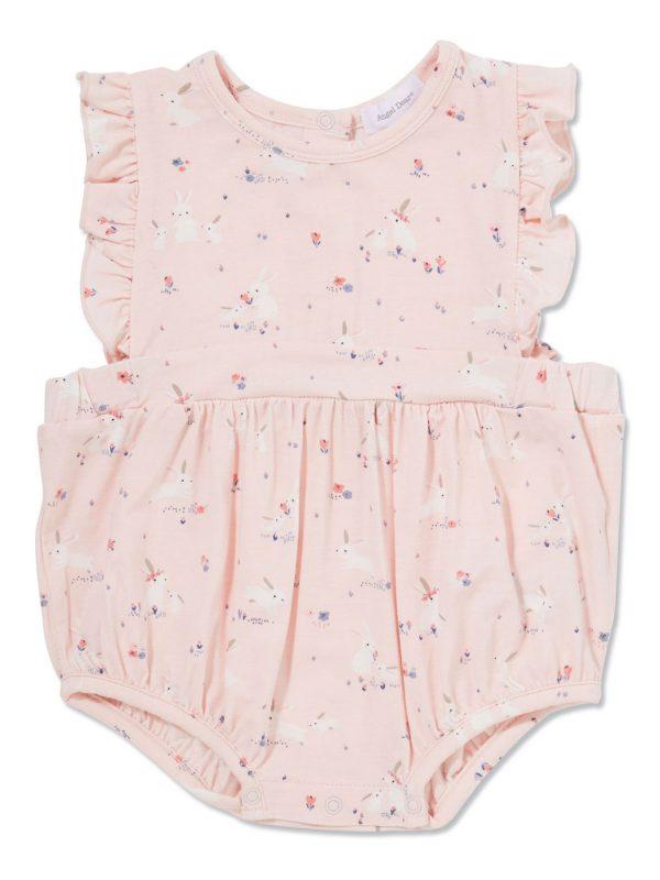 Baby Bunnies - Pink Apron Ruffle Sunsuit