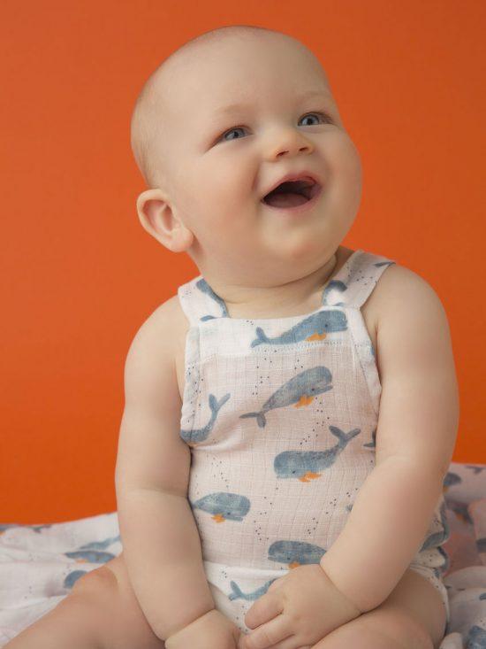 Baby Whale Muslin Retro Sunsuit