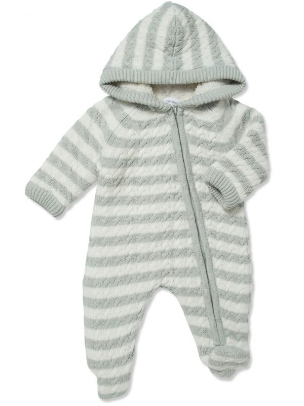 Cardigan Sherpa Hooded Footie Grey and White Main