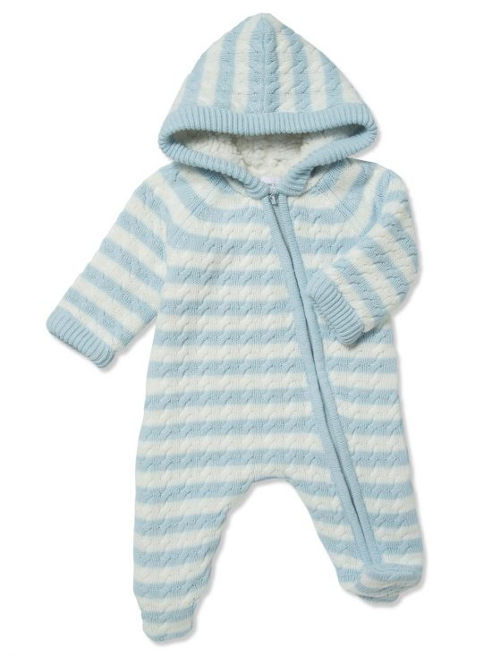 Cardigan Sherpa Hooded Footie Pale Blue and White Main