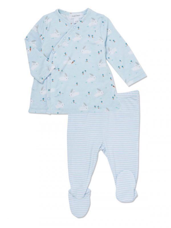 Baby Blue Bunnies Kimono Top and Footie