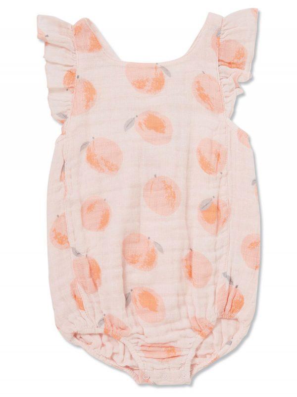 Peachy Muslin Ruffle Sunsuit