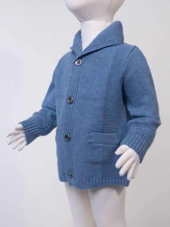 Shawl Collar Cardigan Blue Heather Front Side View
