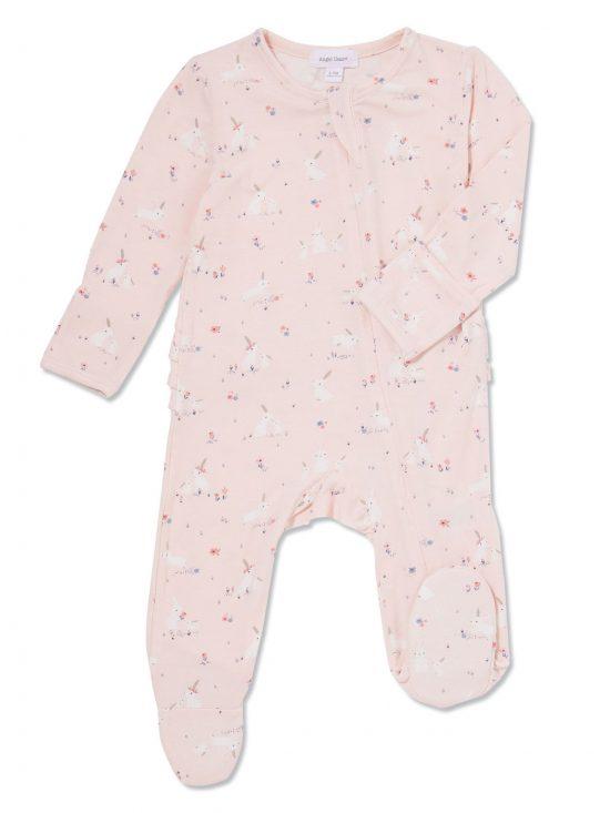 Baby Pink Bunnies Zipper Ruffle Footie