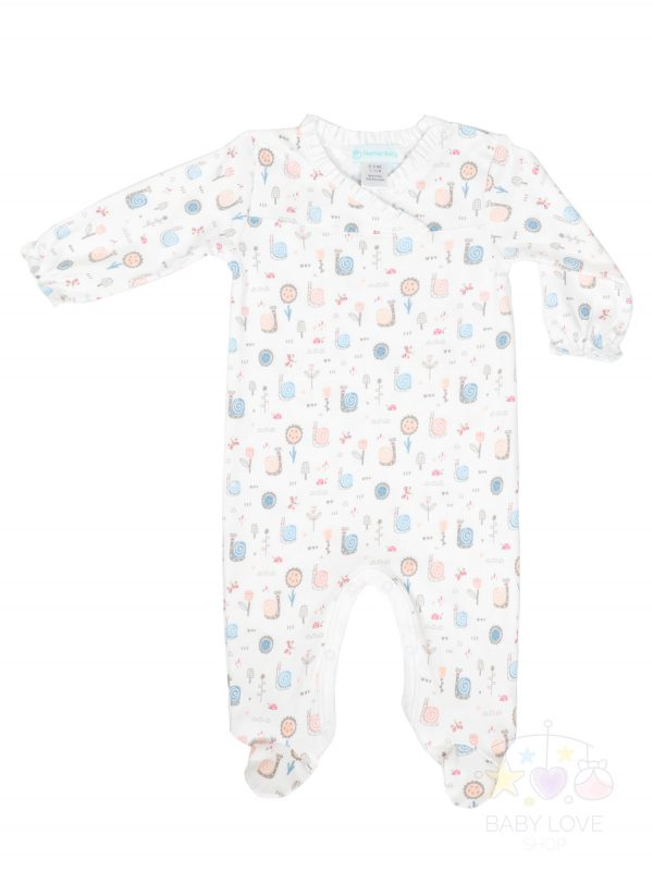 Feather Baby Crossover Footie - Snails on White made of 100% Pima Cotton - Baby Outfit