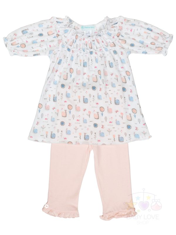 Front View Ruched Tunic Set - Snails on White   Feather Baby - Baby Clothes