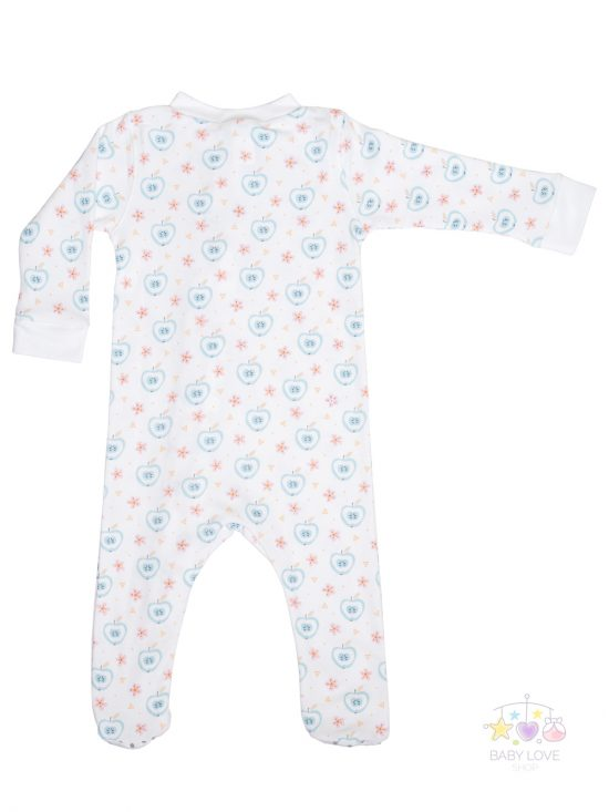 Apples and Flowers on white Zipper footie Back Baby Clothes