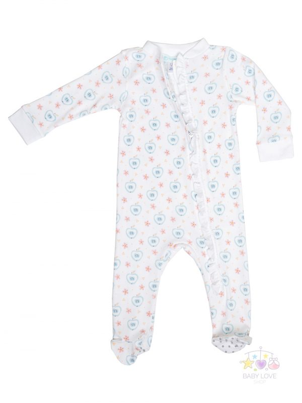 Apples and Flowers on white Zipper footie Baby Clothes