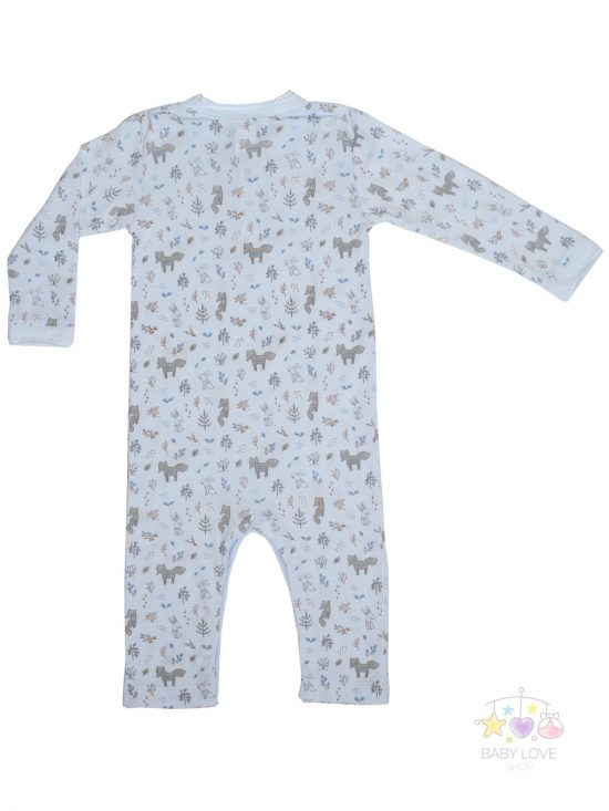 Foxes and Bunnies Romper on blue back