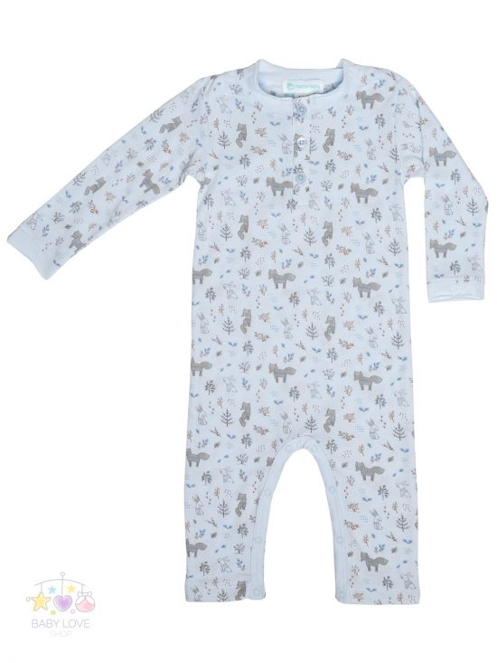 Foxes and Bunnies Romper on blue Front