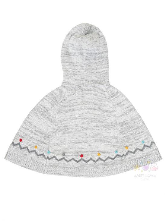Pom pom knits Poncho Grey Back-Angel Dear