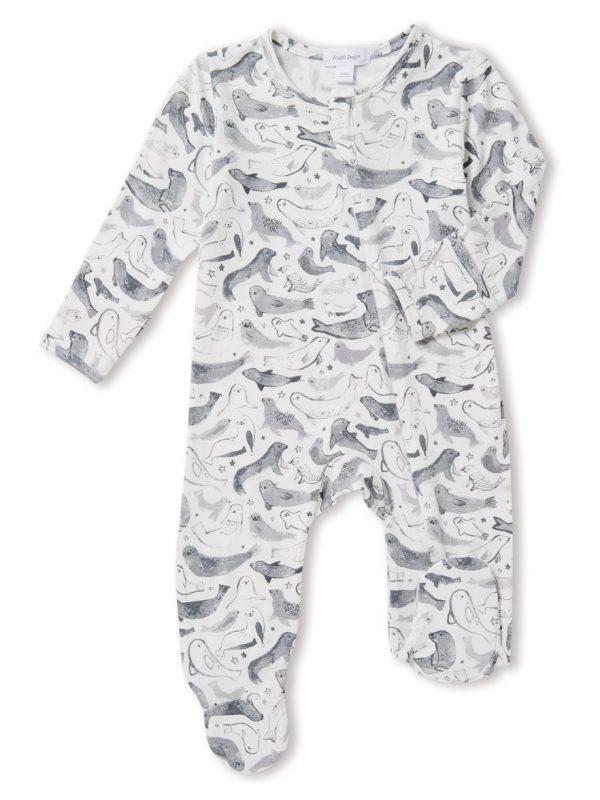 Gray Seals Zipper Footie - Baby Clothes