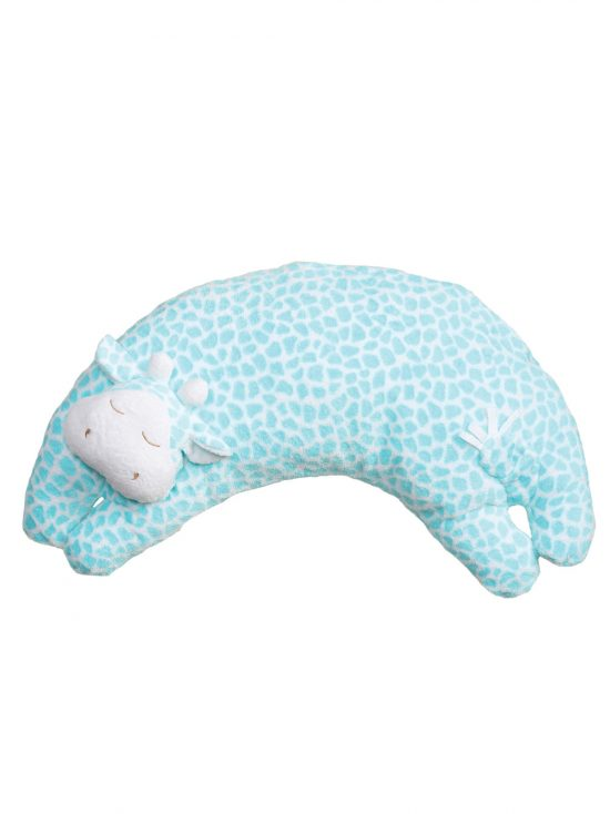 Turquoise Giraffe Curved Pillow for Babies