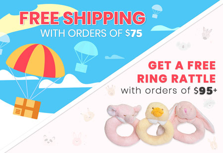 Free Shipping in orders of $75+ and free toy ring rattle with order of $95+